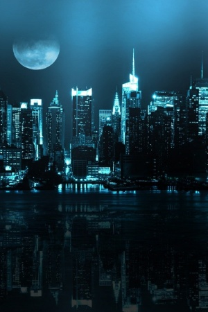 Blue Cityscapes Moon Mobile Wallpaper