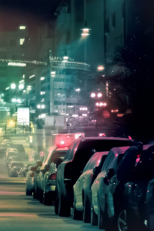 Car And City Lights Mobile Wallpaper