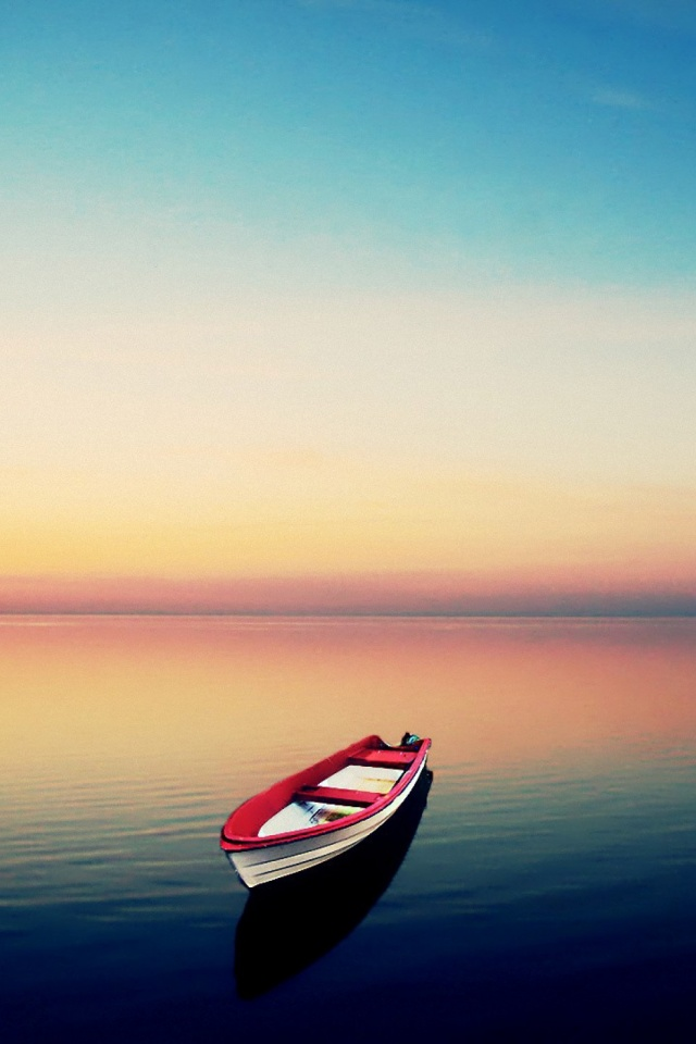 Sunset Row Boat Mobile Wallpaper