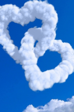 Clouds Hearts Love Mobile Wallpaper