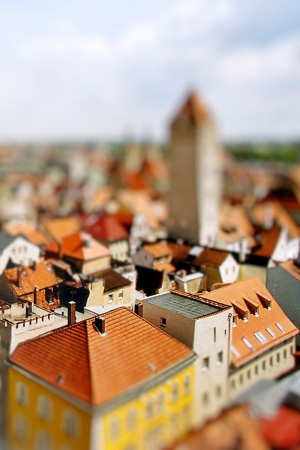 Houses tilt shift Mobile Wallpaper