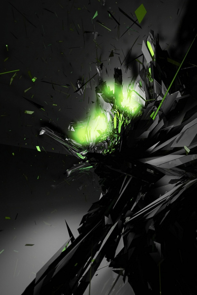 Abstract Black Green Mobile Wallpaper Mobiles Wall