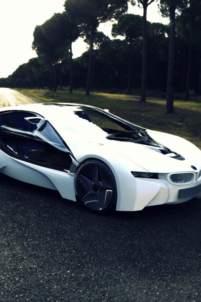 Bmw I8 Sports Car Road Tree Mobile Wallpaper Mobiles Wall