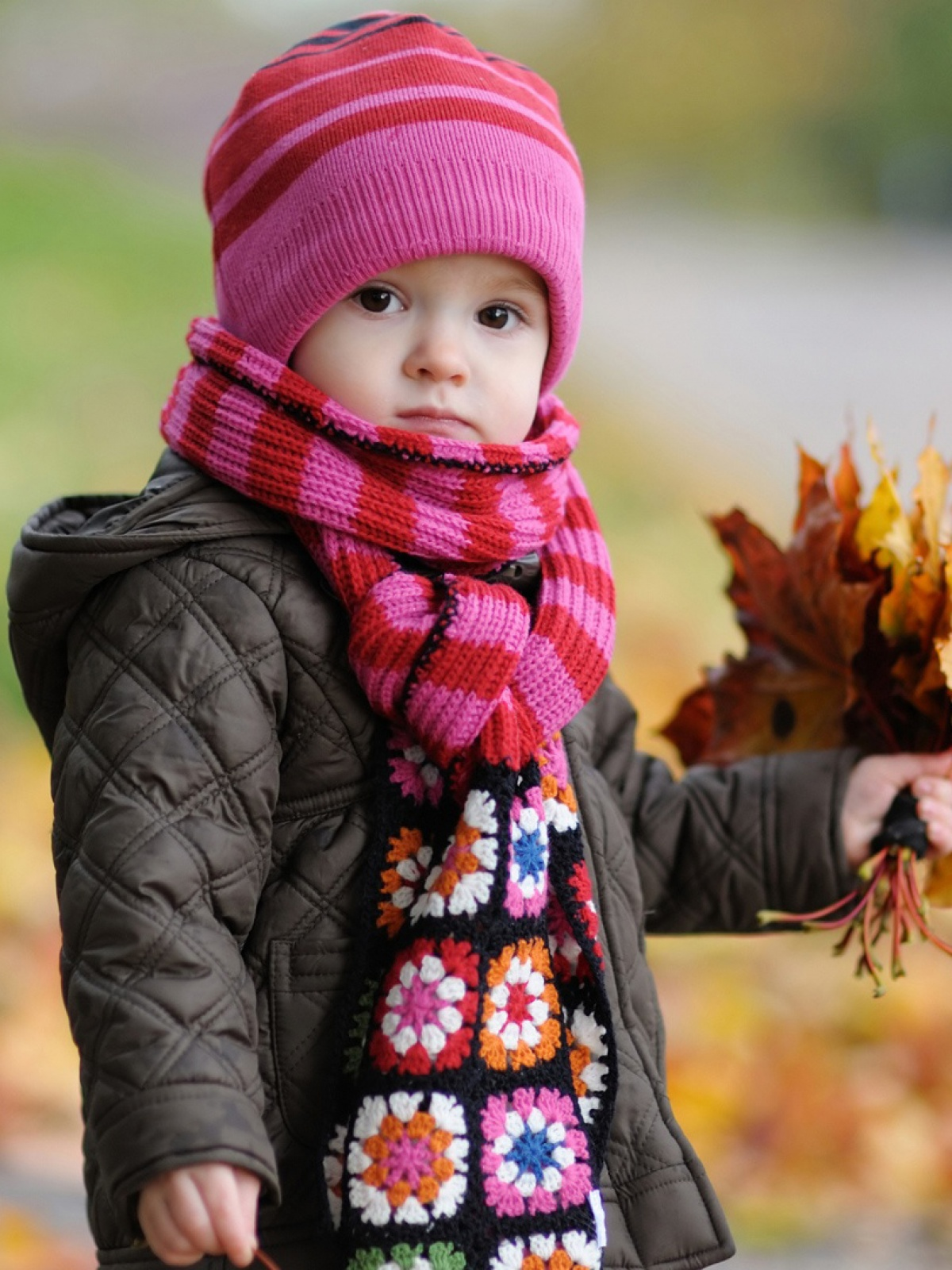 cute baby in autumn mobile wallpaper - mobiles wall