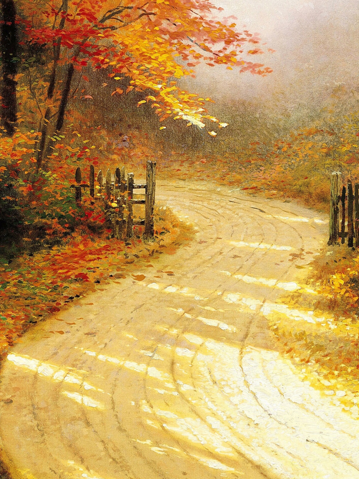 Golden Autumn Road Mobile Wallpaper