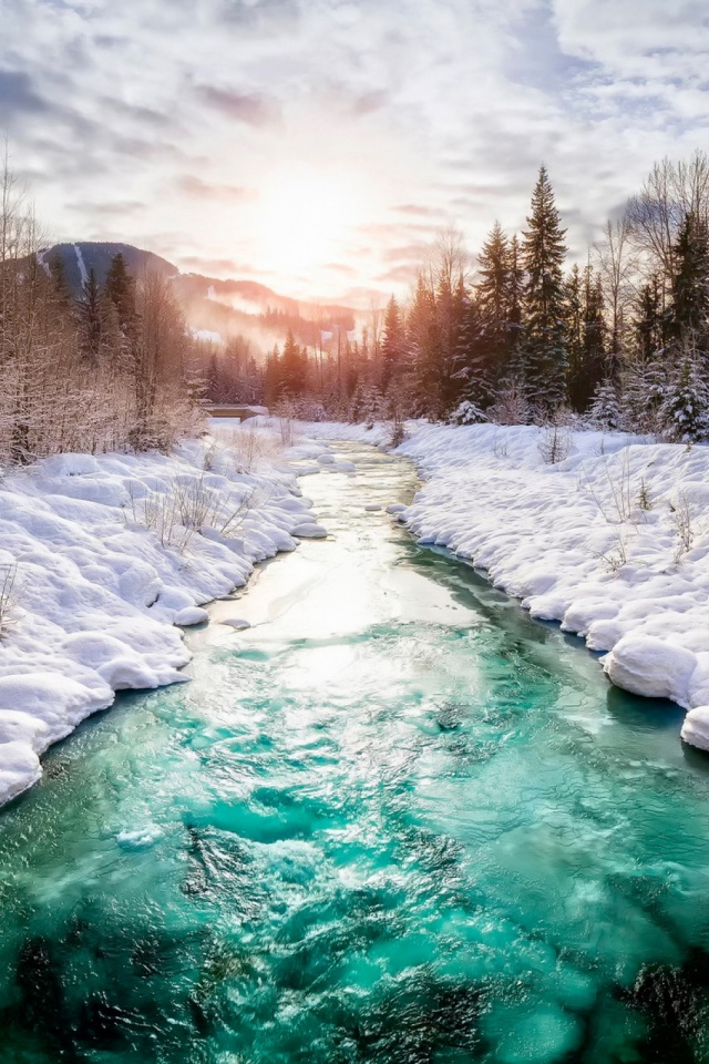 Beautiful River In Winter Mobile Wallpaper Mobiles Wall