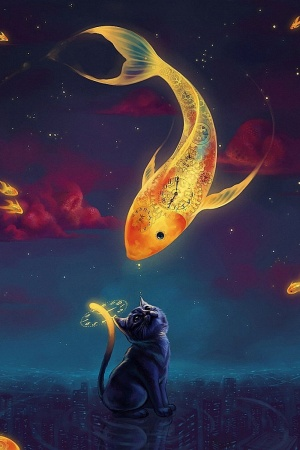 Art fantasy goldfish kitten Mobile Wallpaper