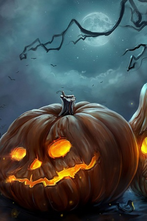 Art halloween night pumpkins Mobile Wallpaper