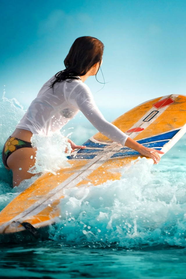 Surfer Girl Mobile Wallpaper