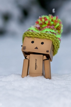 Danbo Discovering Snow Mobile Wallpaper