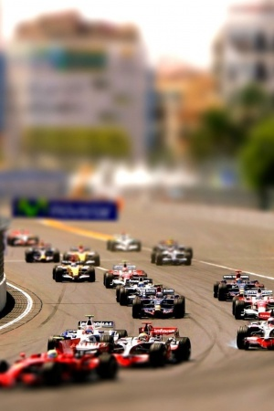 Formula one tilt shift Mobile Wallpaper