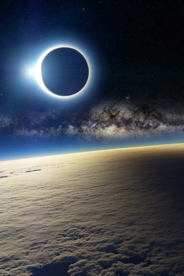 Solar Eclipse From Space Mobile Wallpaper
