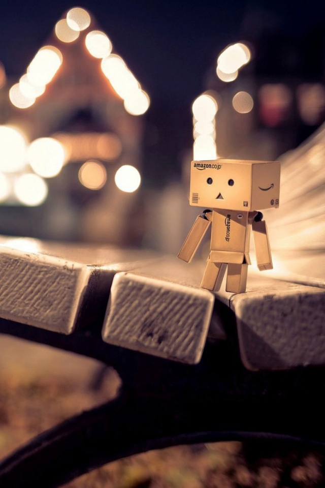 Danbo Box Bench Night Mobile Wallpaper Mobiles Wall