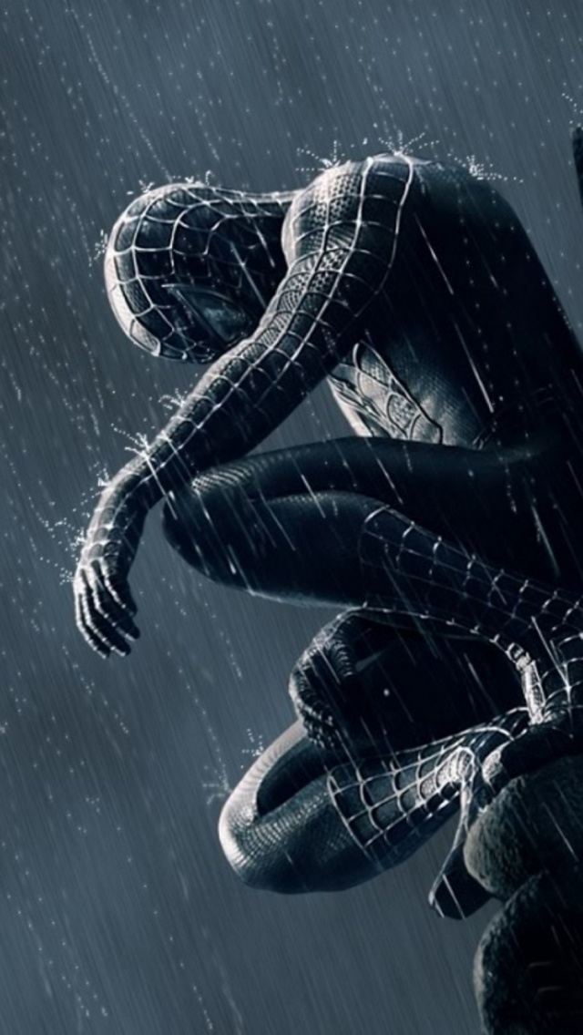 Spider Man In The Rain Mobile Wallpaper