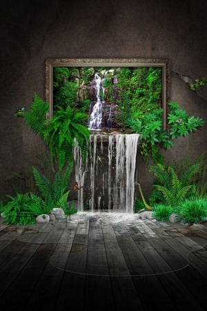 Waterfalls In A House Art Mobile Wallpaper
