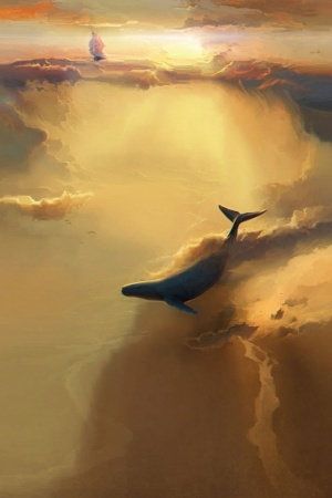 Ship whale artwork Mobile Wallpaper