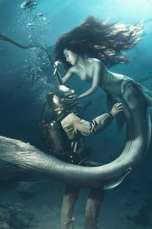 diver and the mermaid Mobile Wallpaper
