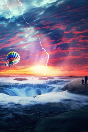 heaven sunset sea airballons Mobile Wallpaper