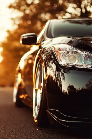 Black Infiniti Car On The-Road Mobile Wallpaper