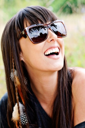 Sunglasses Summer Model Happy Mobile Wallpaper
