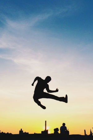 Sunset Silhouette Jump Aundre Larrow Mobile Wallpaper