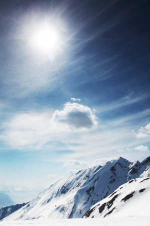 Sunny Snowy Mountains Mobile Wallpaper