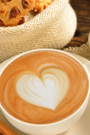 Heart On Coffee Foam Cinnamon Mobile Wallpaper