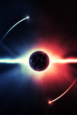 eclipse blue red stars Mobile Wallpaper