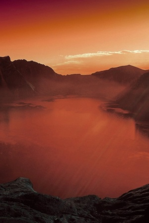 volcanic lake Mobile Wallpaper
