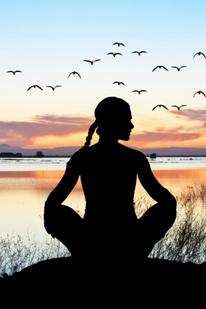 yoga relax pose sunset Mobile Wallpaper